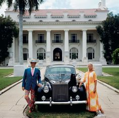 Mr. and Mrs. Donald Leas, with their Rolls Royce at the Flagler Museum, 1968.