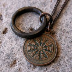 1983 Buddha Necklace Dharma Wheel & Antique African Ring