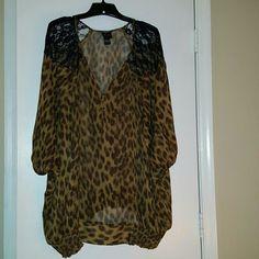 Torrid Leopard Print Sheer Top, Sz 4 Torrid Leopard Print Sheer Top, Banded Waist, Lace Shoulders, Sz 4 torrid Tops Blouses