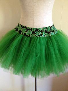 Green Adult Fluffy Girl Plus Size Shamrock TuTu by lookatmybooties, $48.00