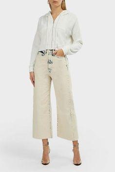 Wildfox Kinley Hooded Crop Cotton Blend Sweatshirt In White Zip Up Hoodies, Sweatshirts, White Hoodie, Wildfox, Hoods, Joggers, Zip Ups, Silhouette, Cotton