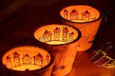 svícen domečkový..-zima na vesnici-skladem