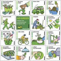 USA go green stamps- U.S. postal service encourages America to go green.