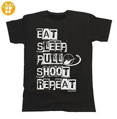 Herren Und Damen Eat Sleep Pull Shoot Repeat T-Shirt Mens Ladies Unisex Clay Pigeon (*Partner-Link)