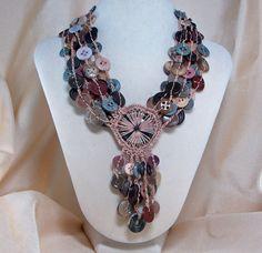 Crochet Vintage Button Necklace. Love it!