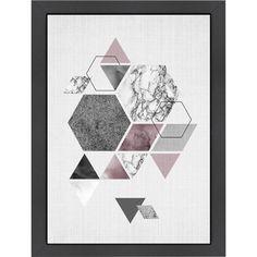 Mercury Row Geometric Hexagons Framed Graphic Art & Reviews | AllModern