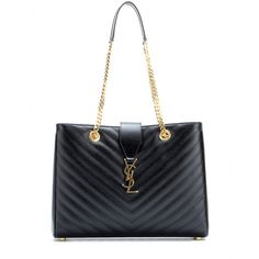 Saint Laurent - Classic Monogram leather tote - Chevron quilting to this Saint Laurent style is what first ensures its luxe appeal. This is complemented by shiny gold-tone hardware, chain straps and the signature monogram to the front. We love toting all of our bits and bobs around in it from one day to the next. seen @ www.mytheresa.com