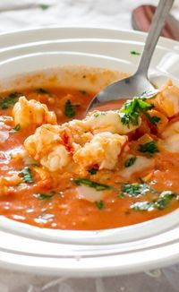 Brazilian Shrimp Soup: used parsley instead of cilantro, can diced tomatoes, vegetable broth instead of water, added fresh sliced okra, and served soup over top of rice. Will try chicken broth and fr(Spicy Soup Recipes) Shrimp Recipes, Fish Recipes, Soup Recipes, Cooking Recipes, Healthy Recipes, Comida Latina, Shrimp Soup, Spicy Shrimp, Good Food