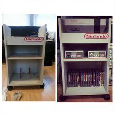 Thrift shop find. Nintendo storage cart Nintendo Room, Super Nintendo, Video Game Storage, Arcade Game Room, Thrift Shop Finds, Video Game Rooms, Gaming Room Setup, Storage Cart, Gamer Room