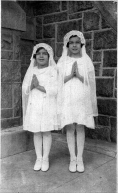 my grandmother flossie and great aunt kathleen....this is what flossie's first communion dress and veil will be modeled after