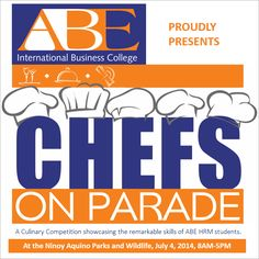LET THE CULINARY BATTLES BEGIN! Witness the action as HRM students from different ABE International Business College campuses compete with each other in a sizzling culinary battle! Categories in which students will compete are as follows: Food styling Cake decorating Flower arrangement Table setting Napkin folding Bartending and flairtending Fruit and vegetable carving See you tomorrow, July 4, 2014, at the Ninoy Aquino Parks and Wildlife from 8am-5pm! Please do share this post to spread the…