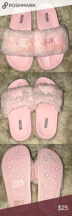 Michael Kors pale pink fur slides size 4 Never worn! Just removed tags. Women's size 4. Authentic MICHAEL Michael Kors Shoes Flats & Loafers
