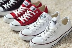 White, red, and black converse shoes. Follow my board converse/vans!