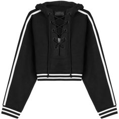 FENTYxPuma by Rihanna Cotton Hoody (6.020 UYU) ❤ liked on Polyvore featuring tops, hoodies, sweaters, jackets, outerwear, black, cropped hoodies, lace up hoodie, hooded sweatshirt and cotton hoodies