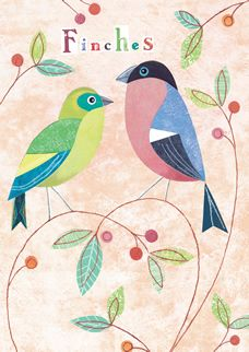 Finches by Simon Hart fluttring away in RSPB shops, WWT branches & the most discerning nature lovers boutiques nationwide. They look fab framed.