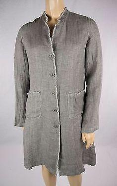 EILEEN FISHER Gray White Weave Irish Linen Jacket Sz XS