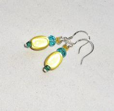 Yellow and Aqua Crystal Dangle Earrings w/925 Silver Hooks Handmade