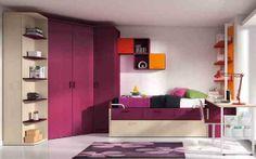 Moderno dormitorio juvenil en tonos burdeos