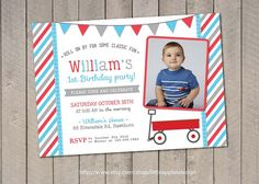 Red Wagon Birthday Invitation / Red Wagon by LittleApplesDesign, $12.00