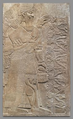 """This panel from the Northwest Palace at Nimrud (ancient Kalhu) depicts a winged supernatural figure. Such figures appear throughout the palace, sometimes flanking either the figure of the Assyrian king or a stylized """"sacred tree Ancient Near East, Ancient Art, Ancient History, Art History, Ancient Mesopotamia, Ancient Civilizations, Cradle Of Civilization, Sumerian, Bronze Age"""