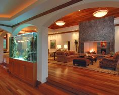 Aquarium Design Ideas, Pictures, Remodel, and Decor Room Design, House, Family Room, Home, Modern Bedroom Design, Contemporary Living Room, House Styles, House Interior, Modern Bedroom