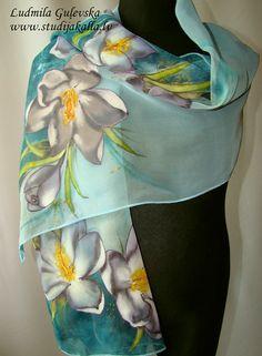 Natural silk shawl - floral, sea blue - light blue crocus, hand painted scarf
