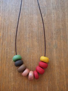 Bright Polymer Clay Bead Necklace. Hand Rolled.
