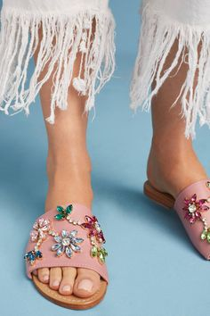 Slide View: 2: Mystique Gemstone Flower Slide Sandals