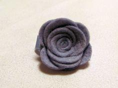 Velcro Hair Clip  Felt Rose  Blue  Toddler by TurtleTotsDesigns, $3.00