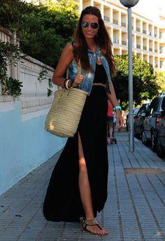 Long black dress + light denim vest
