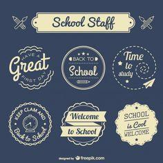 Back to school badges set Free Vector Pub Design, Icon Design, Logo Design, Free Design, Graphic Design, First Day School, Back To School, Brad Pitt, Welcome To School