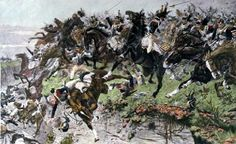 The Battle of Waterloo 18th June 1815/French Cuirassiers, during Ney's cavalry attack, tumbling into the sunken road that ran along the allied position