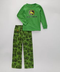 Take a look at this Green Branded Tee & Tractor Pajama Pants - Boys by John Deere on #zulily today!