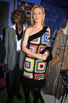 Cate Blanchard in Crochet dress.