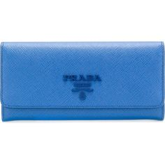 Prada Saffiano continental wallet ($672) ❤ liked on Polyvore featuring bags, wallets, blue, coin purses, coin pouch, zipper wallet, leather coin purse and leather wallets