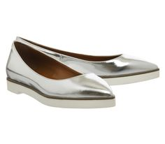 Buy Silver Mirror Leather Office Lifestyle Point Ballet from OFFICE.co.uk.
