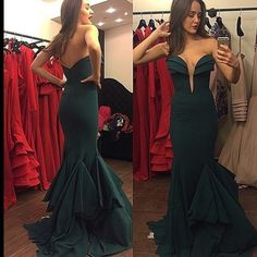 Charming Prom Dress,Sexy Backless Prom Dress,Mermaid Long Prom