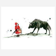 Red Riding Hood Mini Art Block by Lora Zombie