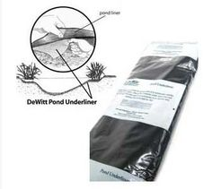 De Witt PU12100F Pond Underliner, Fold Up to 6-Feet by De Witt Company. $212.33. Protect your pond liner wall from stone punctures and also cushions the pond walls for fish. The underliner material allows gases to escape which helps maintain the proper biological balance for all pond life. Nonwoven, needle-punched 3.5-ounce fabric. Measures 12-feet width by 100-feet length. Environmentally safe and easy to use and install. This pond underliner helps to protect yo...