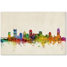 Michael Tompsett 'Nashville Watercolor Skyline' Canvas Art ($64) ❤ liked on Polyvore featuring home, home decor, wall art, watercolour painting, colorful canvas wall art, colorful wall art, skyline painting and watercolor painting