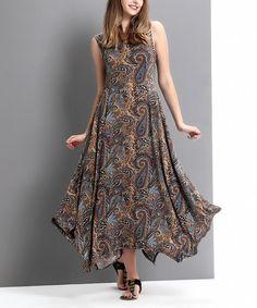 Look at this #zulilyfind! Brown Paisley Scoop Neck Handkerchief Maxi Dress by Reborn Collection #zulilyfinds