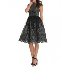 Chi Chi London Katy sukienka wieczorowa haftowana czarna przetykana srebrną nitką