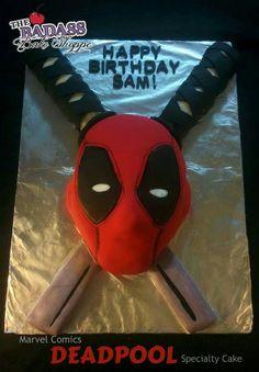 The Badass Bake Shoppe 12th Birthday, Boy Birthday, Birthday Parties, Deadpool Cake, Taste And See, Dead Pool, Cakes For Boys, Superhero Party, Cute Food