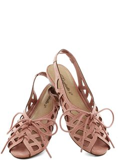 I'd Lovesome Sandal in Rose - Pink, Cutout, Low, Lace Up, Peep Toe, Slingback, Summer, Variation