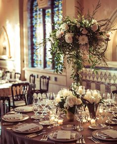 Tall white and green centerpieces