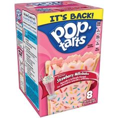 Kellogg's Pop-Tarts Frosted Strawberry Milkshake - US Import! Milkshake Flavours, Vanilla Milkshake, Strawberry Milkshake, Sour Patch Kids, Hot Fudge, Pop Tarts, Coca Cola, Pop Tart Flavors, Gum Flavors