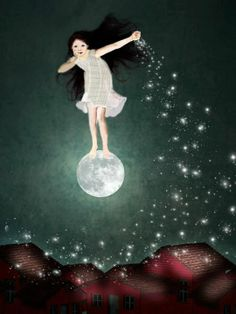 62 Ideas For Dancing Girl Illustration Night Sun Moon Stars, Sun And Stars, Tom Bagshaw, Illustrator, Moon Dance, Moon Pictures, Good Night Moon, Moon Magic, Beautiful Moon