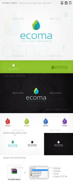 Ecoma Drop Leaf - Logo Design Template Vector #logotype Download it here: http://graphicriver.net/item/ecoma-drop-leaf-logo-template/11840085?s_rank=714?ref=nexion