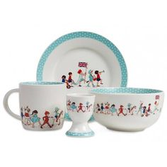 Sweet parade pattern breakfast set for children by Belle & Boo. Each set contains a plate, a mug, an egg cup, and a bowl and comes beautifully packaged in a storybook style illustrated box. Available for purchase at Not on the High Street in the UK for 25 British pounds