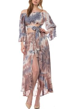 Women's brown, blue & white tie dyed, high waisted, Gypsy maxi skirt with ruffled hem. By Olivaceous. Item # 18-06LSJ. FREE SHIPPING